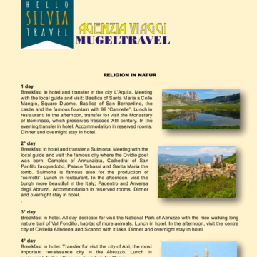 """CATALOG MADE ITALY: WHY PARTECIPATE IN THE TOUR """"RELIGION AND NATUR"""""""